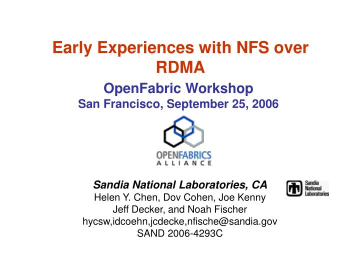 early experiences with nfs over rdma n.