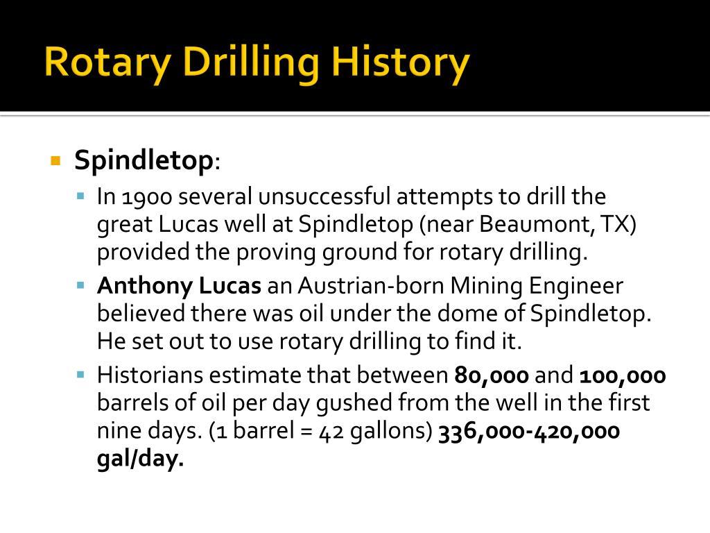 Rotary Drilling History
