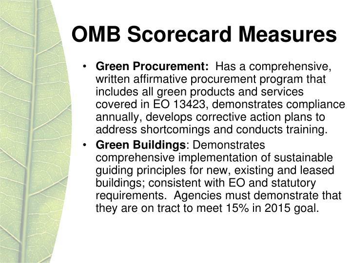 OMB Scorecard Measures