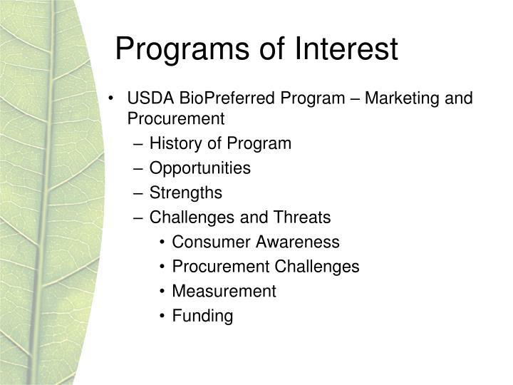Programs of Interest