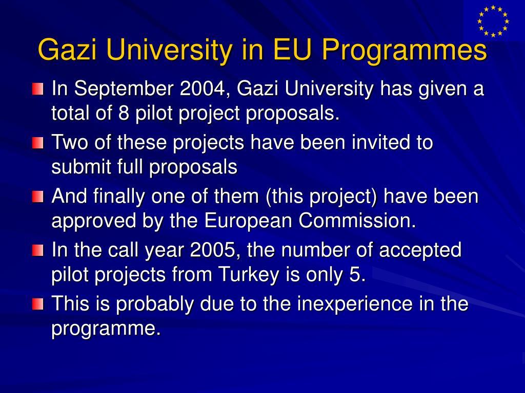 Gazi University in EU Programmes