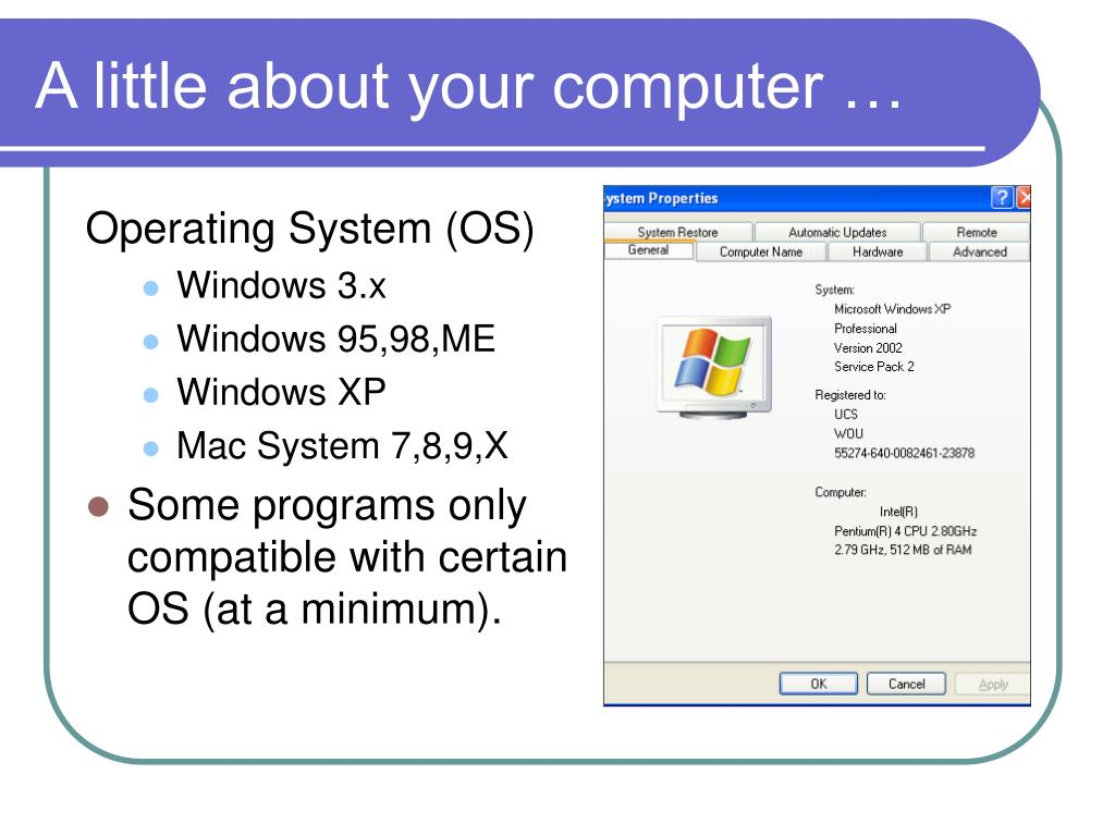 A little about your computer …