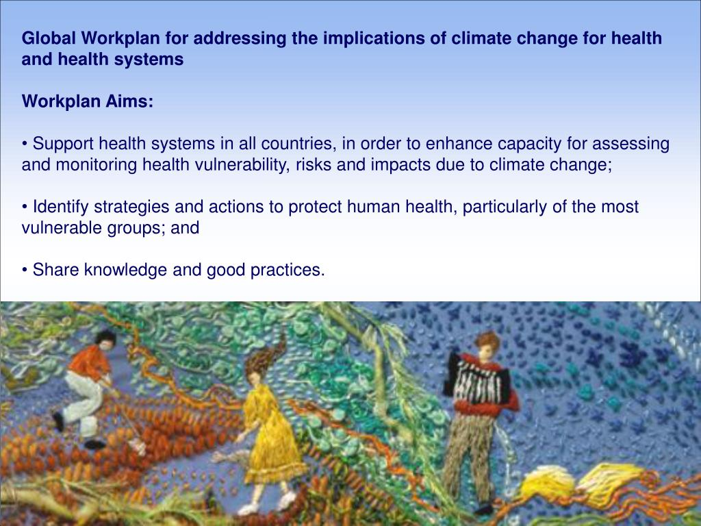 Global Workplan for addressing the implications of climate change for health and health systems
