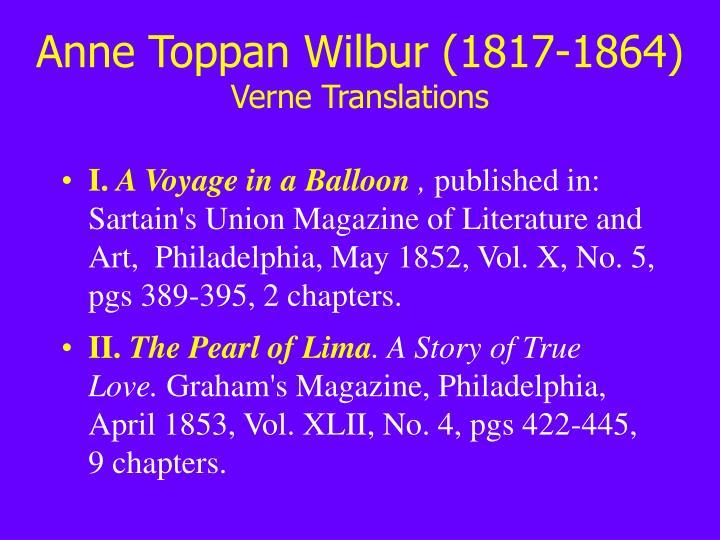 Anne toppan wilbur 1817 1864 verne translations
