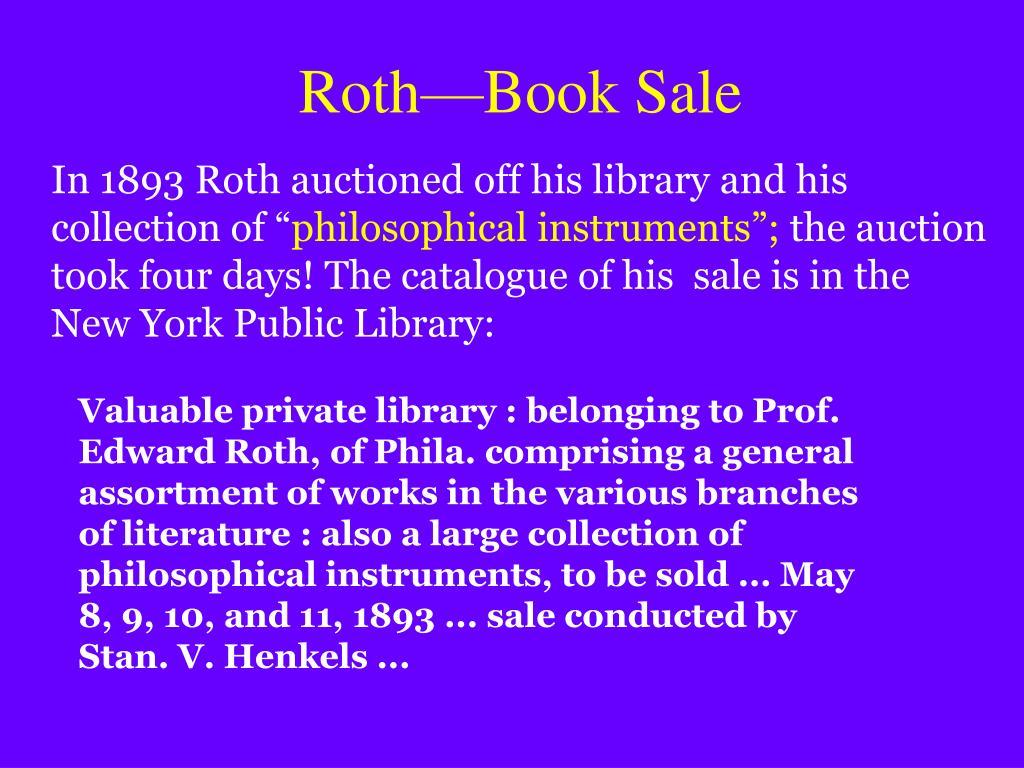Roth—Book Sale