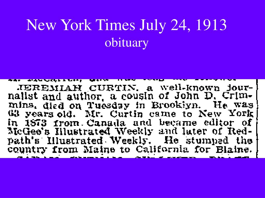 New York Times July 24, 1913