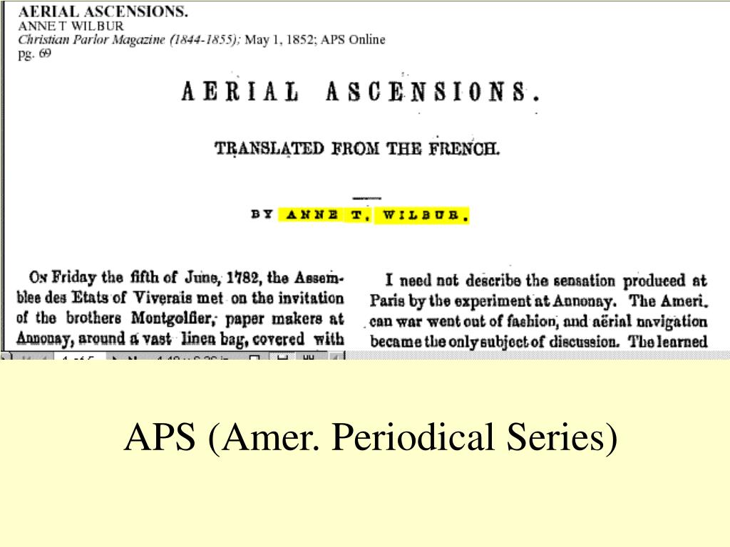 APS (Amer. Periodical Series)