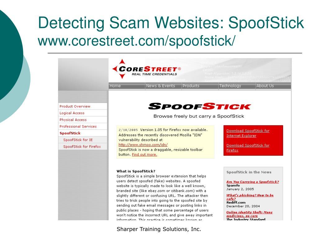Detecting Scam Websites: SpoofStick