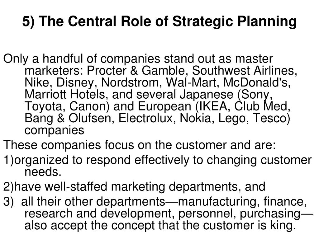 5) The Central Role of Strategic Planning