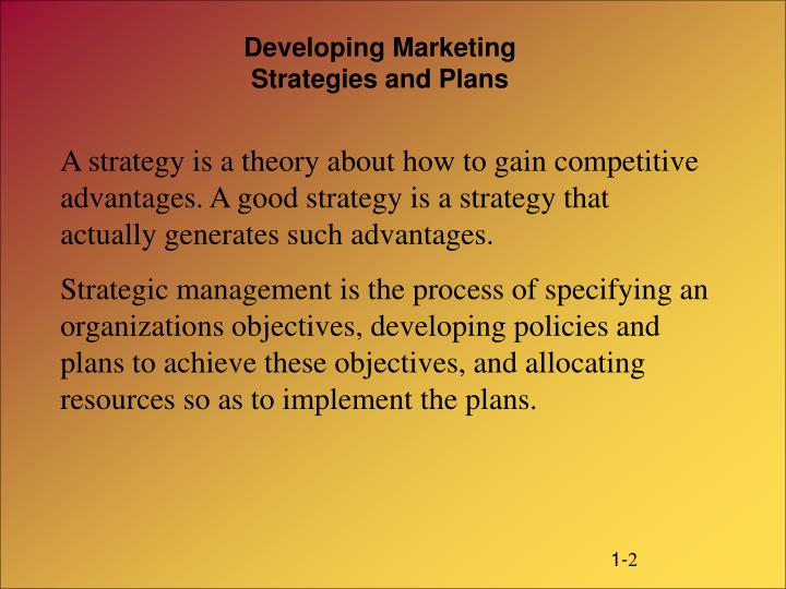 Developing marketing strategies and plans2