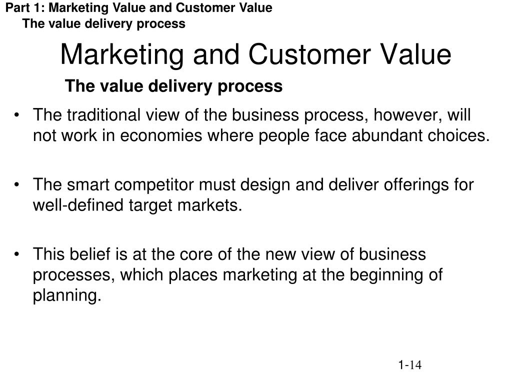 Part 1: Marketing Value and Customer Value