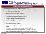 affiliation arrangement addressing the neurosurgery issue continued