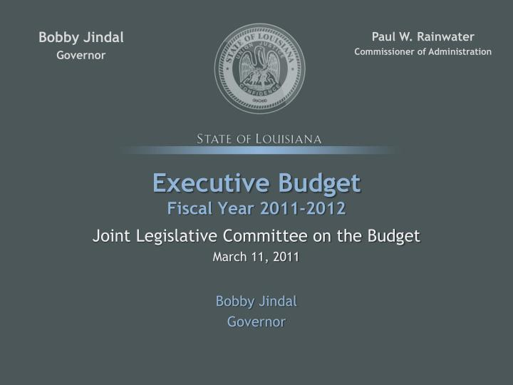 Executive budget fiscal year 2011 2012