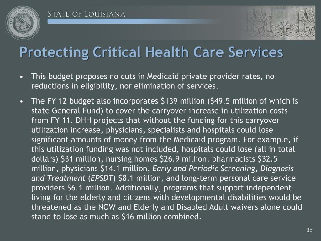 Protecting Critical Health Care Services