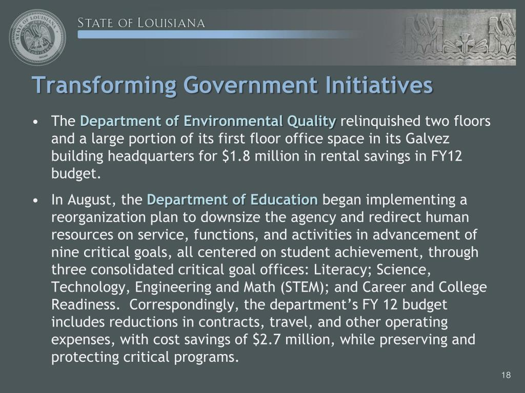 Transforming Government Initiatives