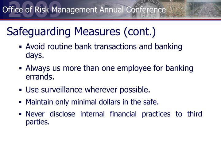 Safeguarding Measures (cont.)