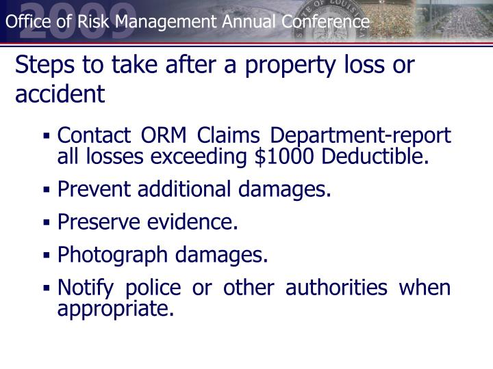 Steps to take after a property loss or accident