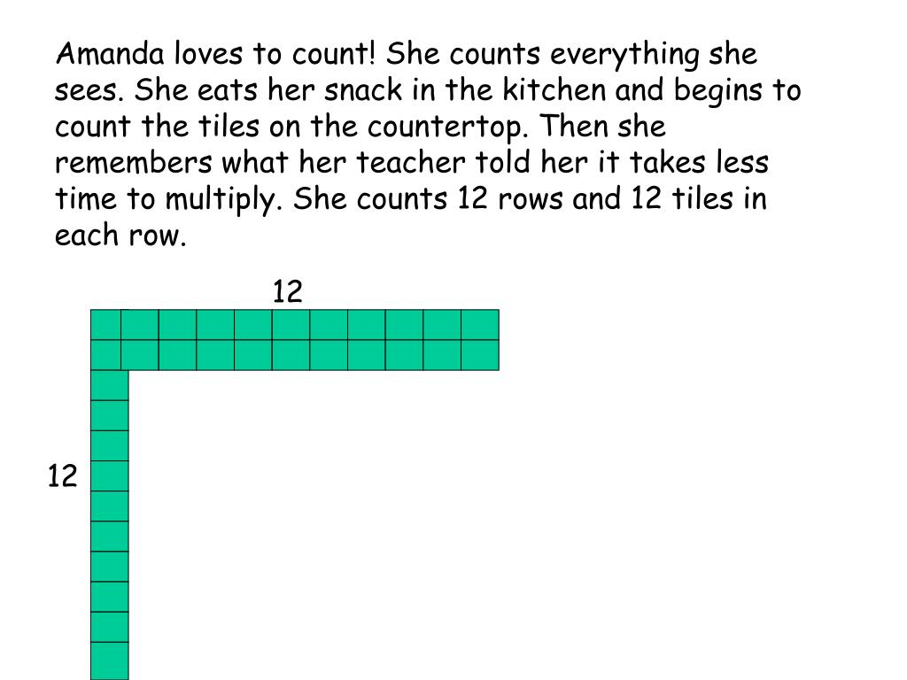 Amanda loves to count! She counts everything she sees. She eats her snack in the kitchen and begins to count the tiles on the countertop. Then she remembers what her teacher told her it takes less time to multiply. She counts 12 rows and 12 tiles in each row.