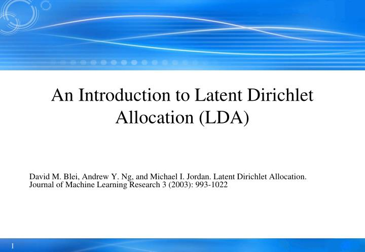 an introduction to latent dirichlet allocation lda n.