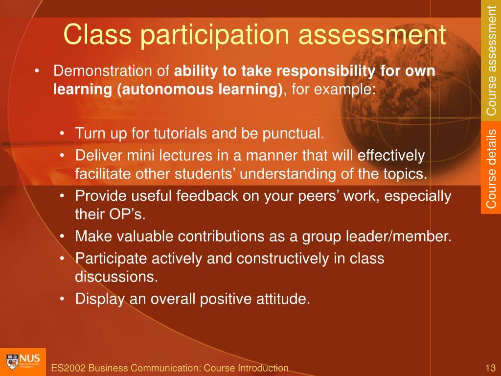 Class participation assessment