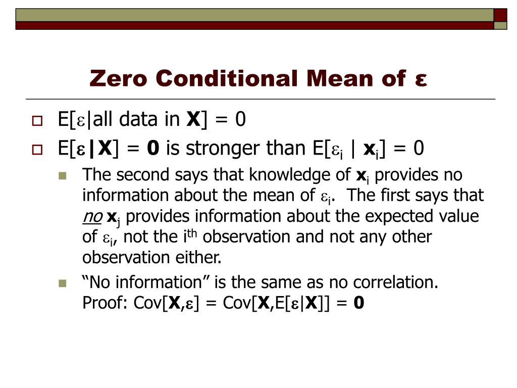 Zero Conditional Mean of