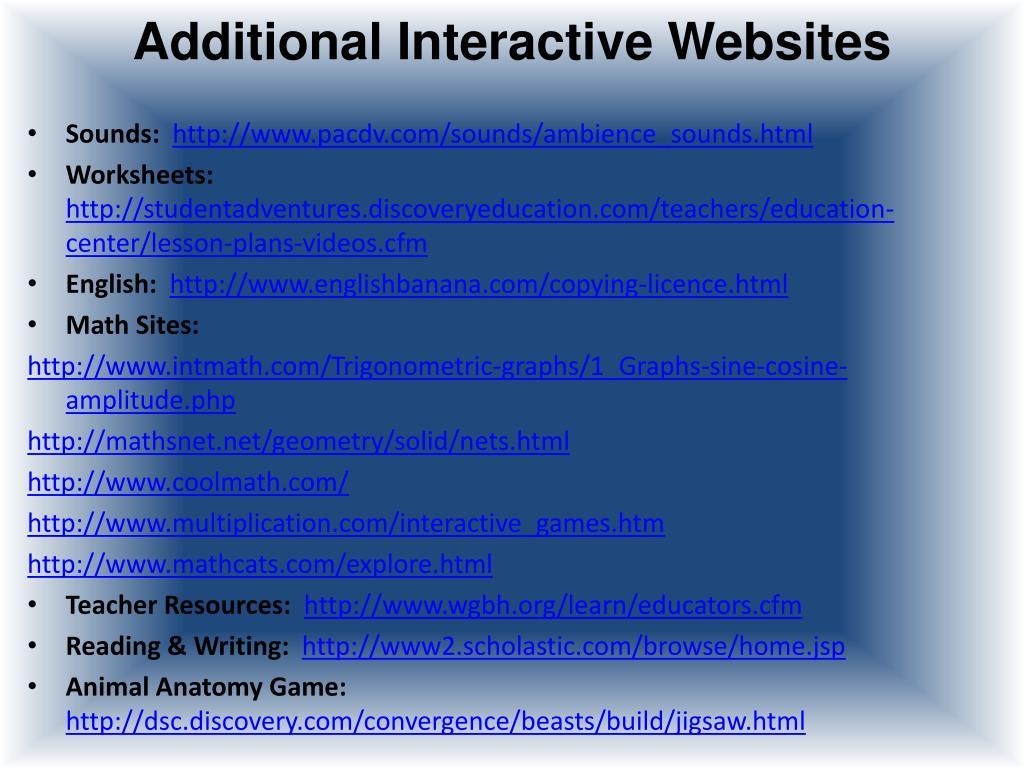 Additional Interactive Websites