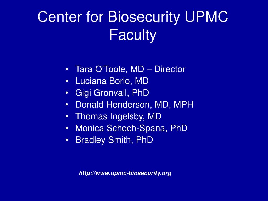 Center for Biosecurity UPMC Faculty