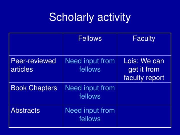 Scholarly activity