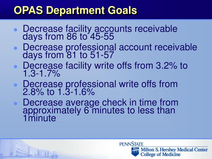 OPAS Department Goals