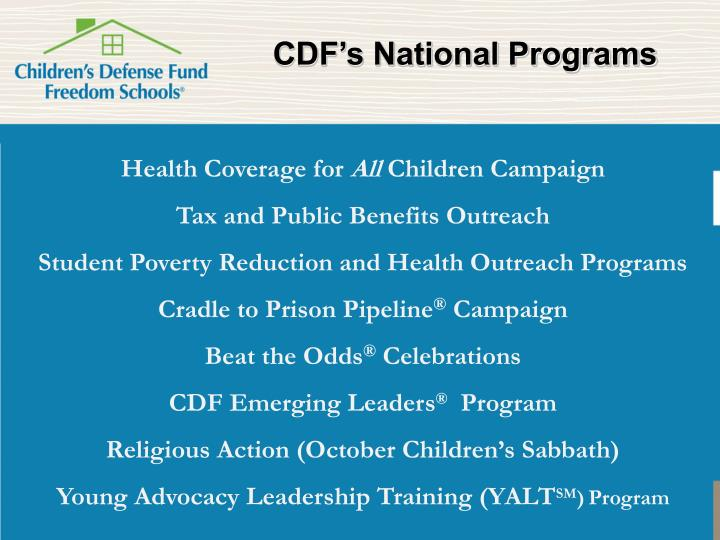 CDF's National Programs