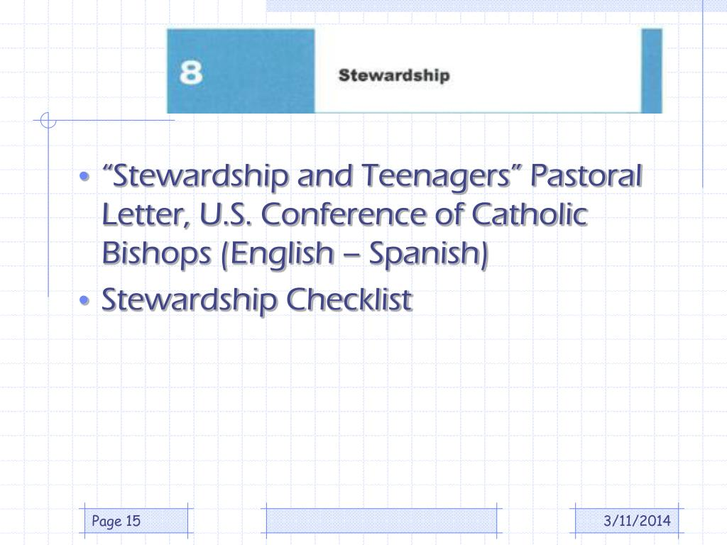 """Stewardship and Teenagers"" Pastoral Letter, U.S. Conference of Catholic Bishops (English – Spanish)"