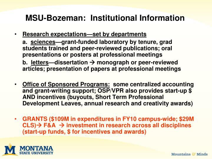 Msu bozeman institutional information