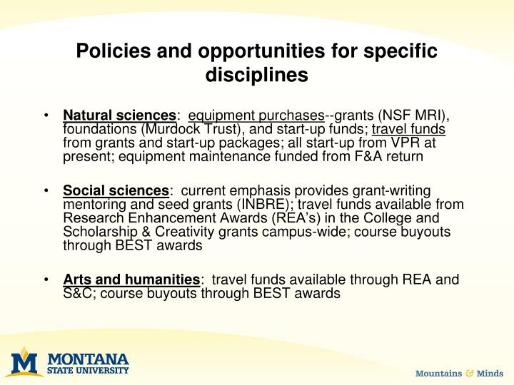 Policies and opportunities for specific disciplines