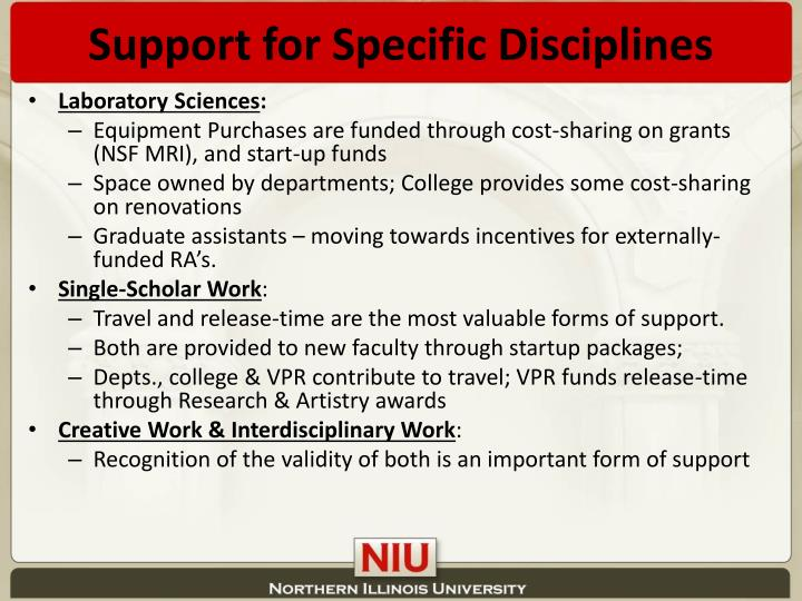Support for Specific Disciplines