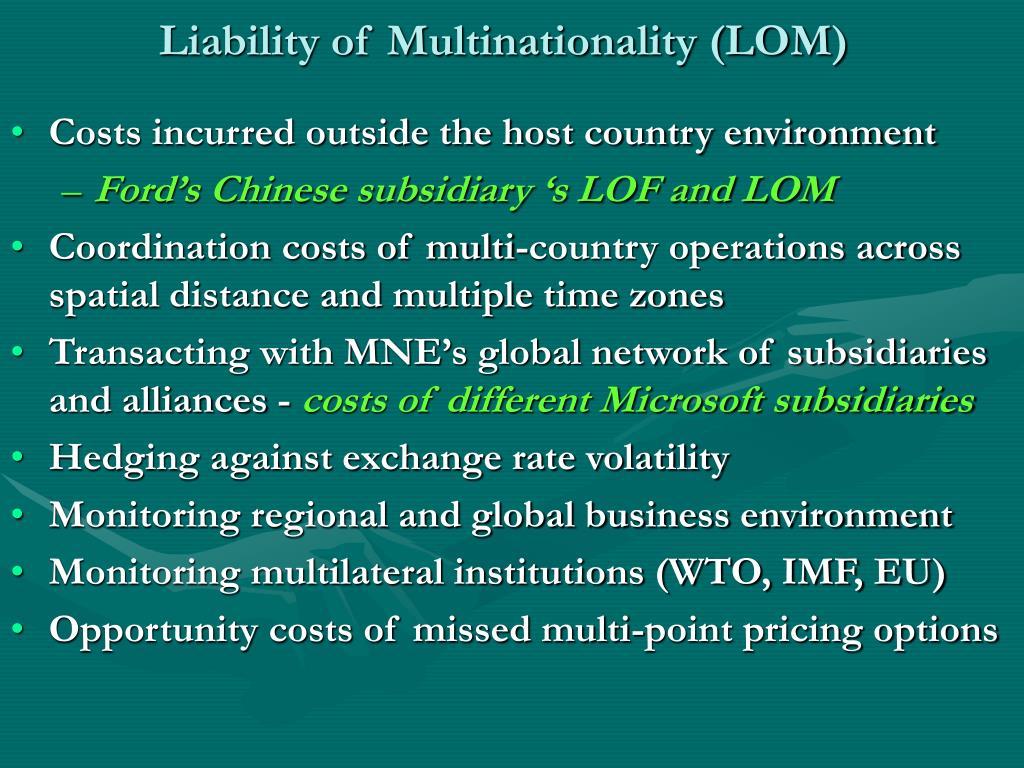 Liability of Multinationality (LOM)