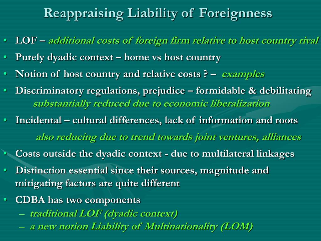 Reappraising Liability of Foreignness
