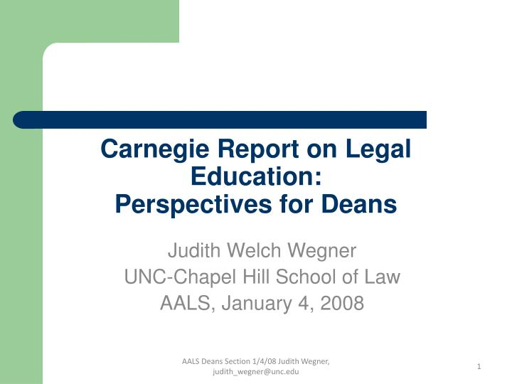 Carnegie report on legal education perspectives for deans