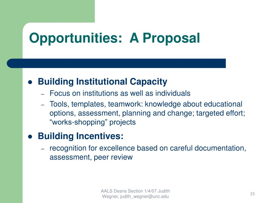 Opportunities:  A Proposal