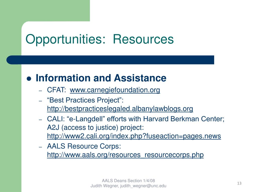 Opportunities:  Resources