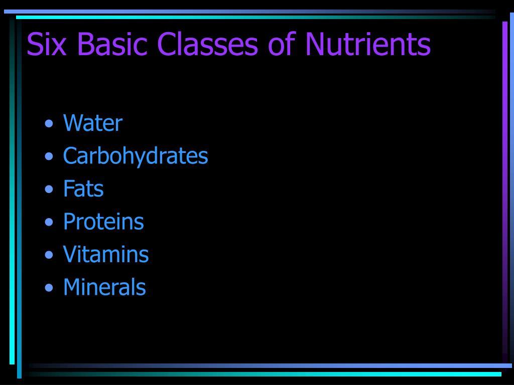 Six Basic Classes of Nutrients