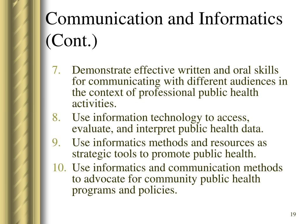Communication and Informatics (Cont.)
