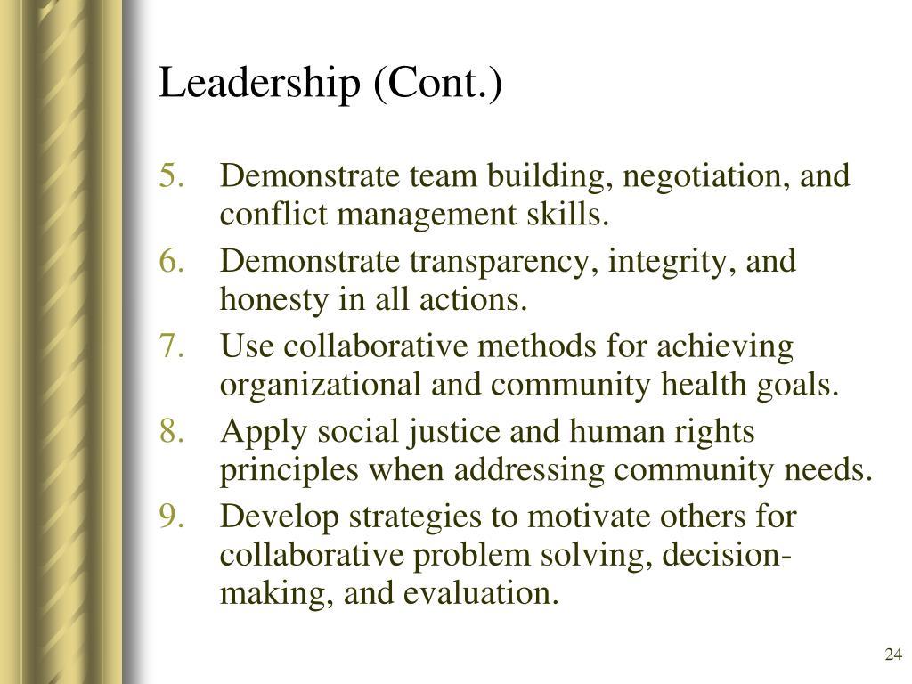 Leadership (Cont.)