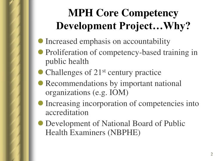Mph core competency development project why