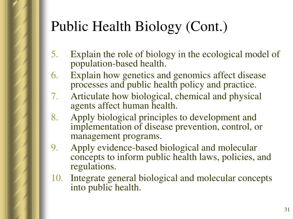 Public Health Biology (Cont.)