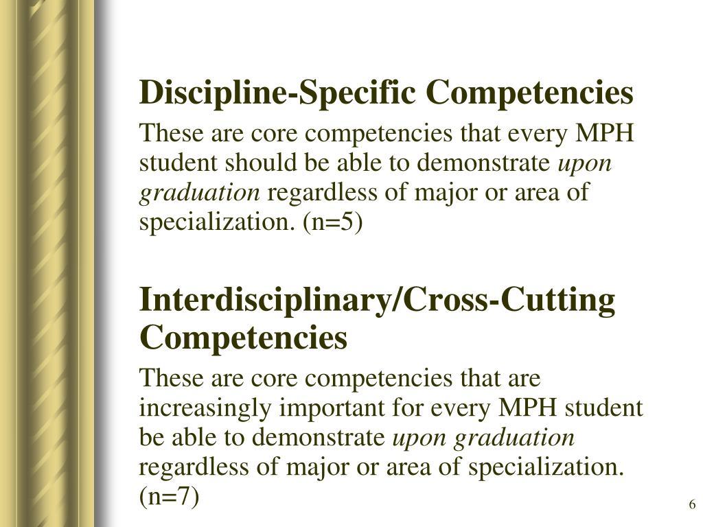 Discipline-Specific Competencies