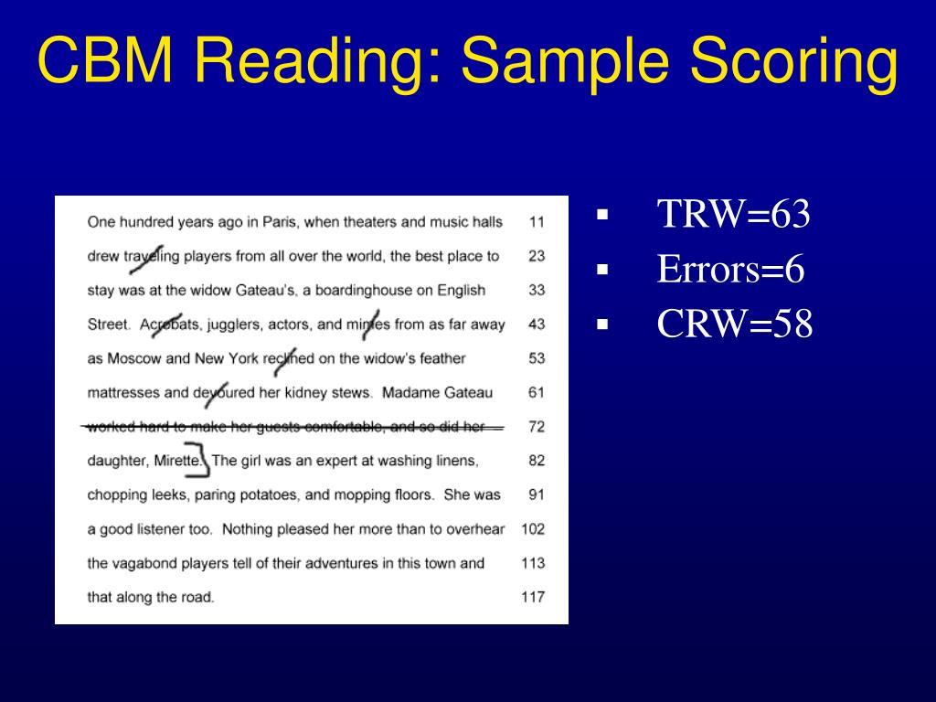 CBM Reading: Sample Scoring