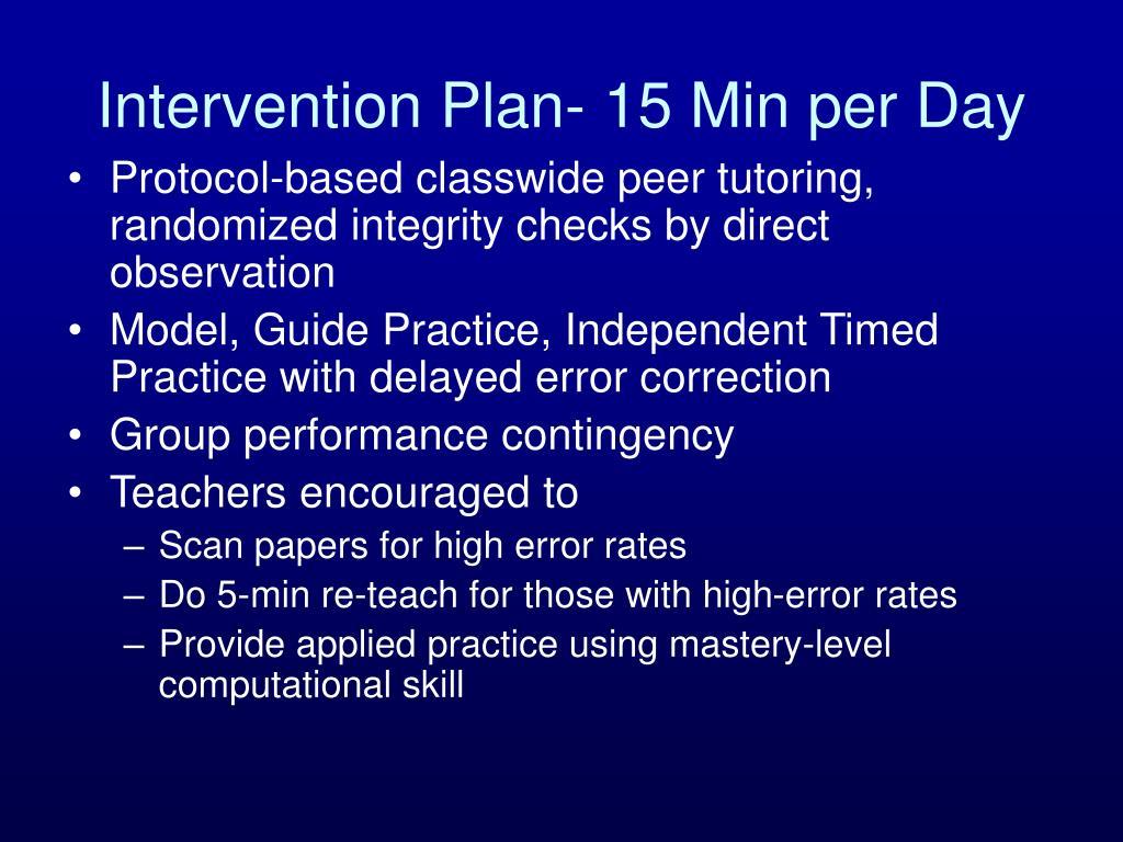 Intervention Plan- 15 Min per Day