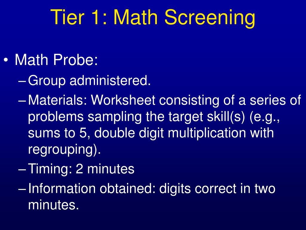 Tier 1: Math Screening