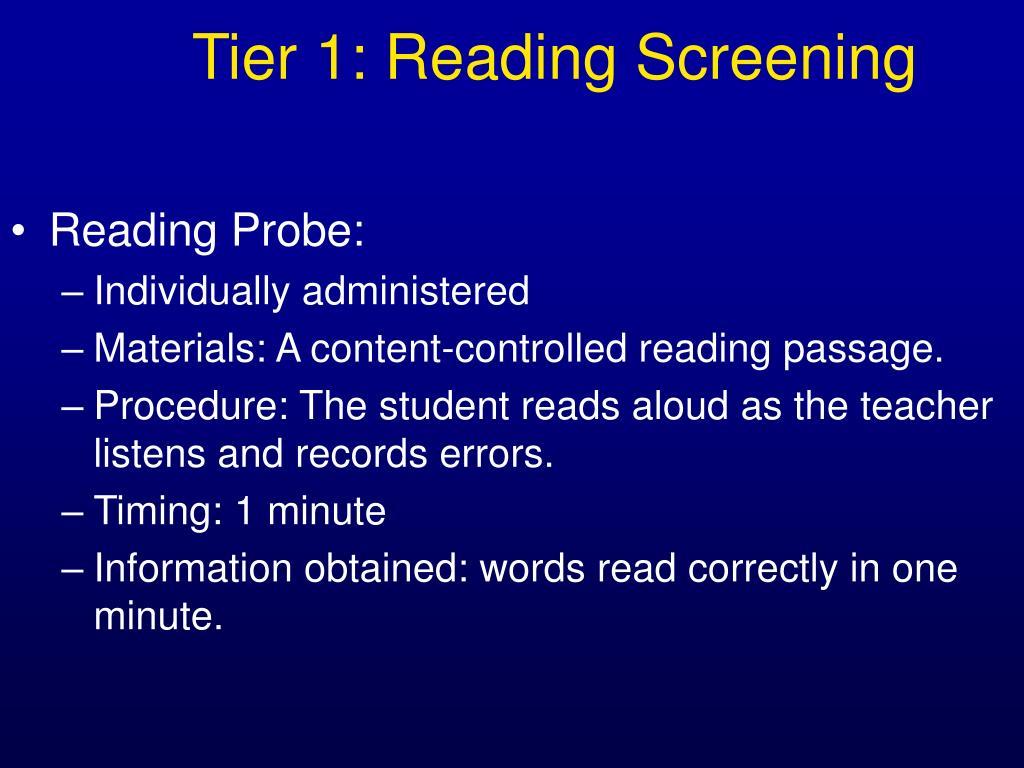 Tier 1: Reading Screening