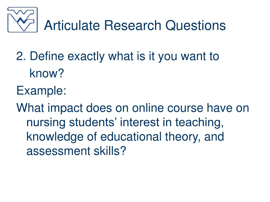 Articulate Research Questions